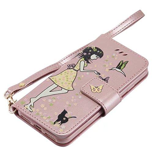 EKINHUI Case Cover Luminous Embossing Fairy Girl & Cat Pattern Ledertasche, Folio Flip Stand Brieftasche Beutel Case Cover mit Lanyard & Card Slots & Foto Frame für iPhone 7 ( Color : Gold ) Rose-gold