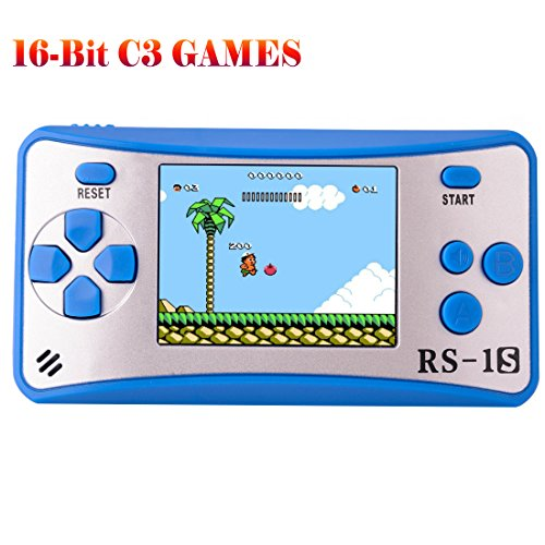 "ZHISHAN Handheld Game Console Classic Retro Video Gaming Player Portable Arcade System Birthday Gift for Kids Recreation 2.5"" Color LCD Built in 168 Games (Blue)"