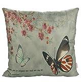 Luxbon Vintage Schmetterling Blume Dauerhaft Leinen Kissenbezug mit Reißverschluss Sofa Büro Dekokissen 45x45 cm