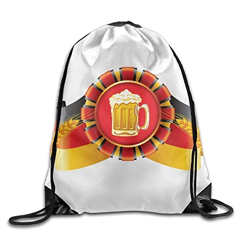 HiExotic Eco-Friendly Turnbeutel Hipster Unisex German Flag and Beer Print Tote Sack Bag Rucksack Drawstring Backpack Travel Bag Daypack (German Flag Bag)