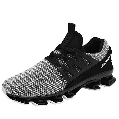 NEOKER Zapatillas Running Hombre Sneakers Calzado Deportivo Verano Aire Libre y Deporte Gimnasia Respirable Gris 43