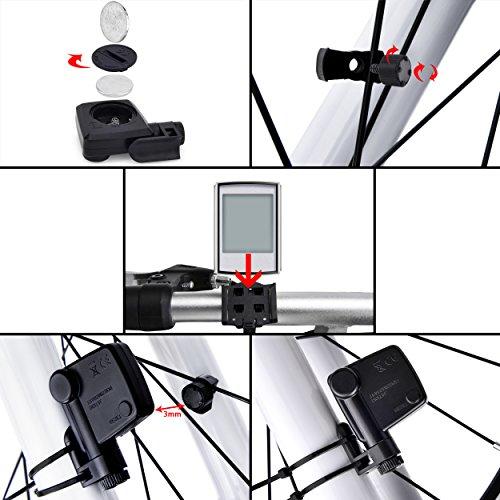 Elinker Fahrradcomputer mit großer LCD Hintergrundbeleuchtung und Motion Sensor für die Verfolgung der Geschwindigkeit und Entfernung, Wireless Radcomputer Drahtlos Tachometer Kilometerzähler - 4