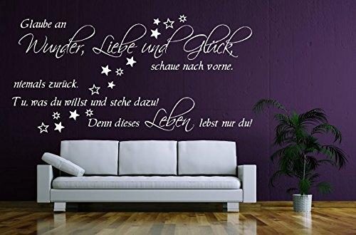 timalo® Wandtattoo Wohnzimmer Wandtatoo Aufkleber Spruch Glaube an Wunder Liebe und Glück 1pt2-TK03