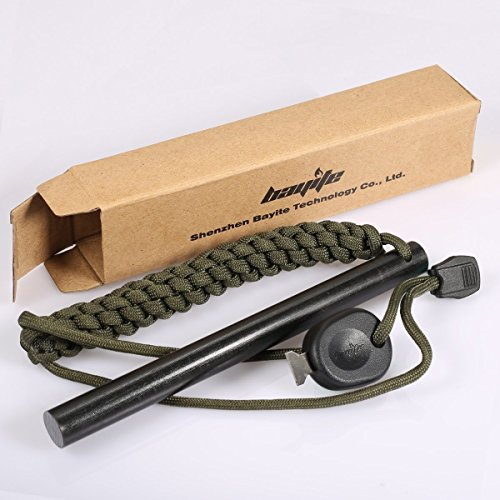 bayite Survival Drilled Flint Fire Starter with OD Green Paracord Landyard 6 Inch Large