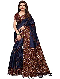 Kanchnar Women's Art Silk Kalamkari Printed Saree With Unstitched Blouse