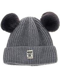 Tyoner Fashion Mädchen Jungen Baby Strickmütze Bommel Ball Kinder Mütze Wolle Fell Accessoires Hüte, Mützen & Caps