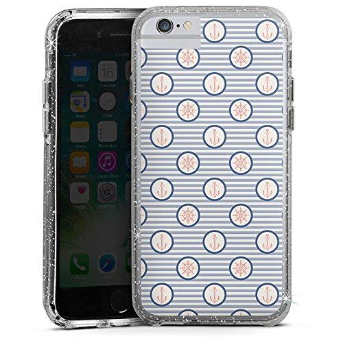 Apple iPhone 7 Plus Bumper Hülle Bumper Case Glitzer Hülle Marine Sommer Summer Bumper Case Glitzer silber