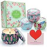 LA BELLEFÉE Duftkerzen Set 100% Sojawachs Kerzen Blumen Aromatherapie Geschenkset für Hochzeiten, Party und Dekorationen für Zuhause (4 x 160g)