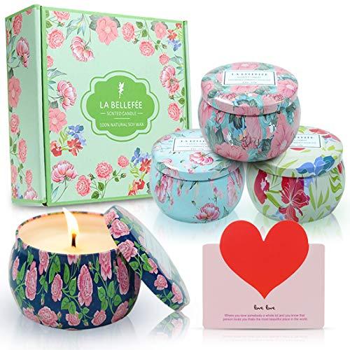 LA BELLEFÉE Duftkerzen Set 100% Sojawachs Kerzen Blumen Aromatherapie Geschenkset für Hochzeiten, Party und Dekorationen für Zuhause (4 x 160g) Blumen-kerze