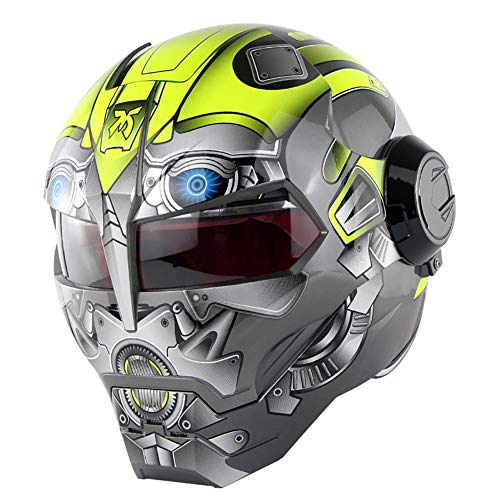 Story of life Motorrad-Sturzhelm, Atmungsaktiv Vollvisierhelm, ABS-Material Persönlichkeit Roboter Helm Moto Motocross Klapphelm,Gelb,L