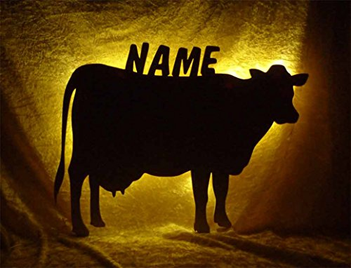 Holz Lampe Nachtlicht Kuh mit Name-n individuelle lustig-e und spaßig-e Deko Geschenk-e für Tiere Bauernhof-Fans für den Stall Wohnzimmer Schlaf-Zimmer (Kuh Passt)