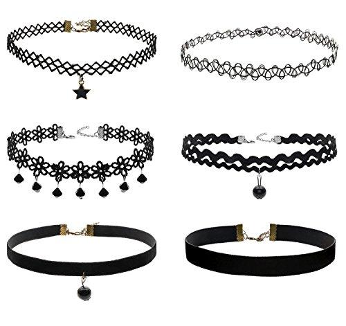 Kraft Kostüm Punk - JewelryWe Schmuck 6 Stück Damen Hoker Halskette Set, schwarzes Spitzenhalsband Tätowierung Punker gotisch Halsband Halskette Anhänger Samt Schmuck