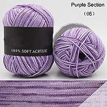 Hilo de lana suave de 50 g para tejer lana de bebé, Purple Section,