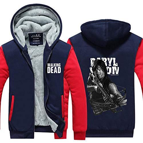 BINGFENG Männer Halten Warme Hoodie Walking Dead Zombie Druck Kapuzenjacke Sweatshirt Halten Warme Jacke Für Winter Home Outdoor Herren Hoodie B-S