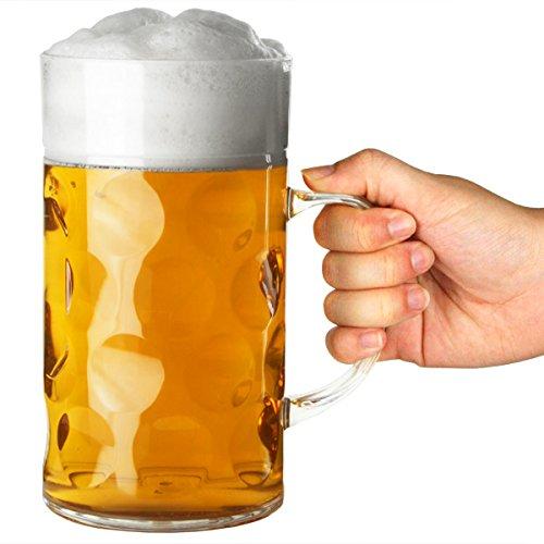 bar@drinkstuff Bierkrug aus Kunststoff 2 Pint | 1Liter Bierkrug, Deutscher Krug, Biergefäß aus Plastik 1l Krug