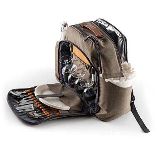 KLARSTEIN Halford - Picknick-Rucksack, Picknick-Tasche, Polyester, integrierte Thermotasche, 2 Seitentaschen für Flaschen, 1 extra Seitentasche, je 4X Messer, Gabel, Löffel, Teller, Glas, braun