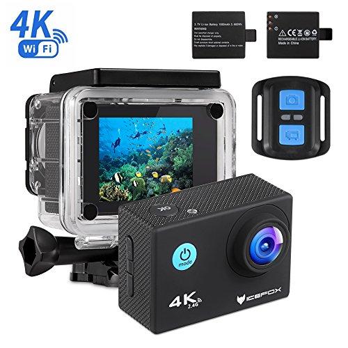 Action Cam 4k, icefox Unterwasser 30M Sport Action Kamera mit 2 wiederaufladbaren Akku, WIFI Fernbedienung, 2.0 Display, 1080P HD Aufnahme für Tauchen, Motorrad, Surfen, Bootfahren und Skifahren