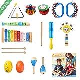 YISSVIC 13Pcs Instruments de Musique Enfant Bébé Jouet en Bois pour Enfant Ensemble de Clochettes et Tambour Maracas avec Sac de Transport