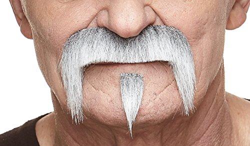 Mustaches Selbstklebende Fälscher Schnurrbart Neuheit The Zappa Falsch Gesichtsbehaarung Kostümzubehör für Erwachsene Grau mit Weißer Farbe