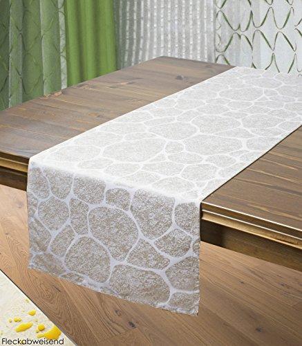 Tischläufer STONE / Naturstein-Look / 40x140 cm / taupe-braun