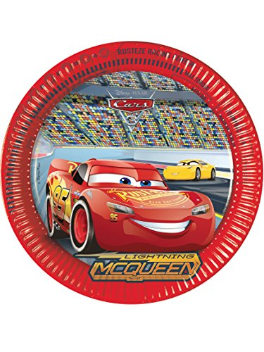 Generique - Cars 3-Pappteller 8 Stück bunt (Rennen-auto-teller)