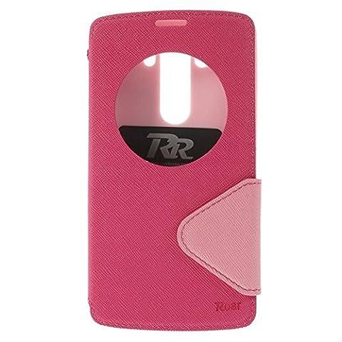 LG G3 View Case Hülle Tasche Flip Cover Klapphülle Schutzhülle Flip Case Handyhülle | Premium Design Wallet mit View Fenster | 100% Passgenau | Robuste Silikon-Innenschale | Magnetverschluss | Easy Touch | Aufstellfunktion | Rosa Pink