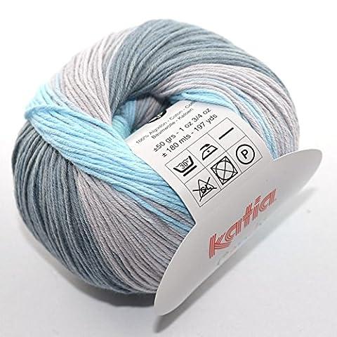 Katia - Candy- Babywolle Fb. 659 weiß/hellblau/grau 50 g = 180 Meter, Nadelstärke 2,5 - 3