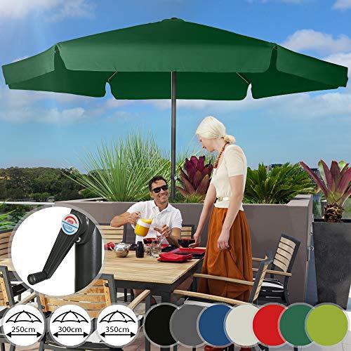 Sonnenschirm in Ø 2,5m / 3m / 3,5m | in Farbwahl, Wasserabweisender Schirmbezug,mit Krempe und Kurbel, aus Stahlrohr | Marktschirm, Gartenschirm, Terrassenschirm, Ampelschirm, Strandschirm, Sonnenschutz für Balkon, Garten, Terrasse (2.5m, Amazonas)