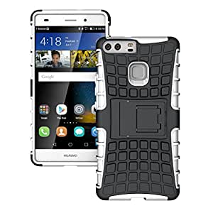 Heartly Flip Kick Stand Spider Hard Dual Rugged Shock Proof Tough Hybrid Armor Bumper Back Case Cover For Huawei Ascend P9 - Best White