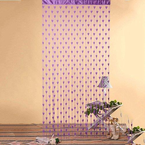 String Polyester Vorhang Fenster Tür Balkon Dekoration Für Wohnzimmer Schlafzimmer (Schwarz)(Lila) ()