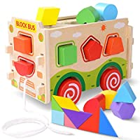 JoyNote Large Wooden Shape Sorter Bus with Tangram Classic 3D Push Pull Truck Toy for Toddlers and Baby Color Recognition and Geometry Learning, (20 Blocks and Carry Case Included)