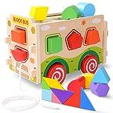JOYNOTE Baby Spielzeug Form Klassifizierungs Spielzeug,Steckpuzzle Sortierspiel Holzpuzzles Steckspiel mit Tangram 3D Push Pull Spielzeug für 2 3 4 5 Jahre alt Farberkennung und Geometrie Lernen