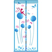 Magnetic Mesh Net Screen Door Curtain Full Frame with Fresh Dandelion Patterns Breathable Close Automatically Keeps Bugs Mosquitoes Out 35 x 83inch Blue
