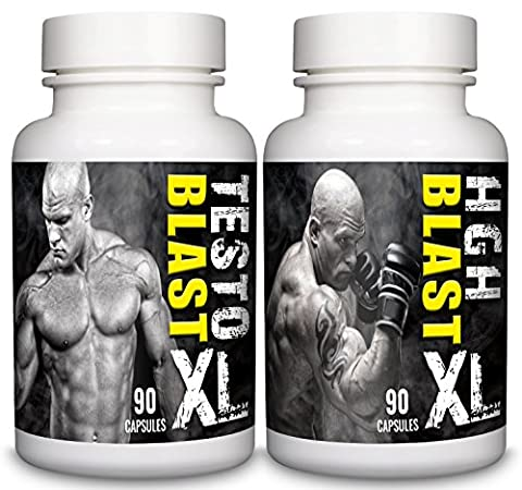 Testo Blast XL & HGH Blast XL – 1+ Month Supply – Tribulus Terrestris, Testosterone Support and Amino Acid Sports Supplement for Men by Natural Answers
