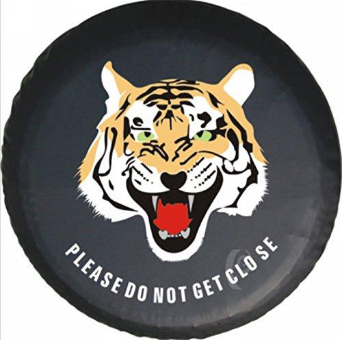 Housse de pneus Housses de Roue de Secours Tiger Animal PU Cuir Protecteur (diamètre de 77cm)