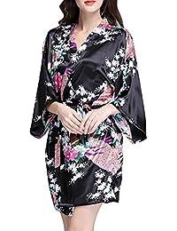 Mujer Pijama Lencería Kimono Corto Satén Estampado Floral ...