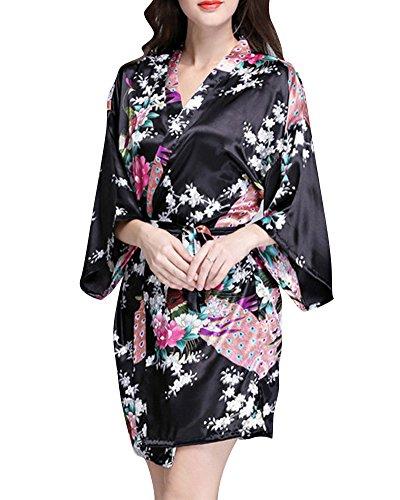 Damen Morgenmantel Glatte Satin Nachtwäsche Bademantel Peacock Blume Kimono Schlafanzug Schwarz