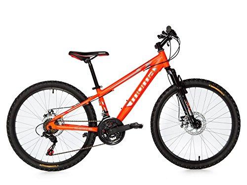 Moma Bikes Montaña Mountainbike 24″ BTT Shimano, Aluminio, Doble Disco y Suspensión Bicicleta, Naranja, No