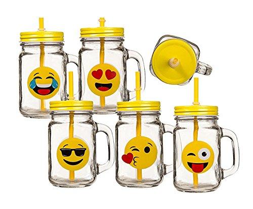 Ideal 6-er Set Trinkglas Glas Emotion Smiley ca. 450ml mit Deckel Henkel Strohhalm