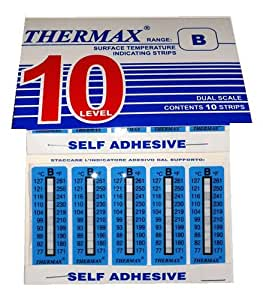 Temperature Strips Non-reversible - Self Adhesive - 77-127°C - 10 per Pack