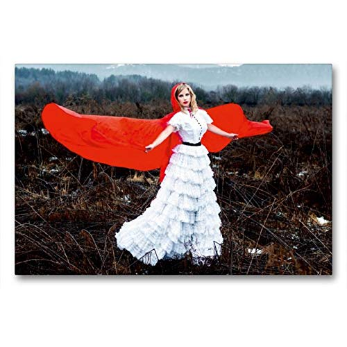 Calvendo Premium Textil-Leinwand 90 cm x 60 cm Quer, Rotkäppchen | Wandbild, Bild auf Keilrahmen, Fertigbild auf Echter Leinwand, Leinwanddruck: Ein Märchen, modern interpretiert Menschen Menschen