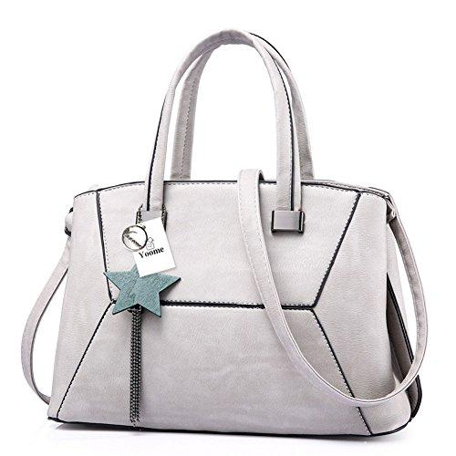 Yoome Top Handle Handbags Vintage Borsa grande capacità Borsa nappa Tote Satchel con stella - rosa Grigio