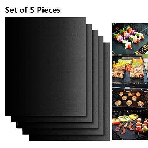 Set de 5 Tapis pour griller Barbecue Plaque de barbecue et Pâtisserie en Silicone