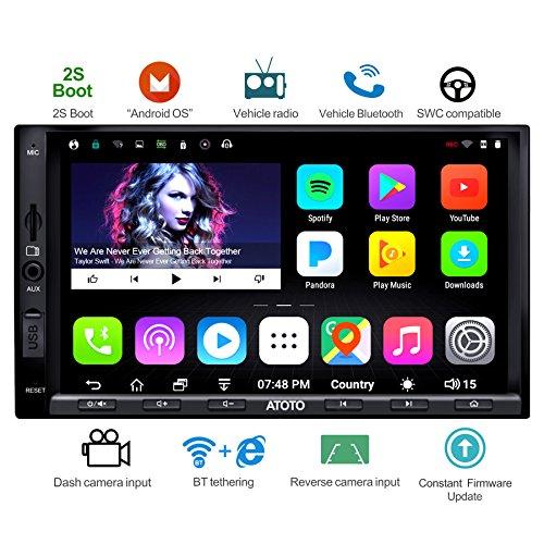 ATOTO A6 Double din Android de Navigation de Voiture Stéréo avec Double Bluetooth - Standard A6Y2710SB 1G/16G Radio Multimédia de Voiture, WiFi/BT Internet Tethering, Soutien 256G SD et Plus
