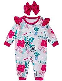 Xuefoo Mameluco Floral para bebé recién Nacido con Diadema