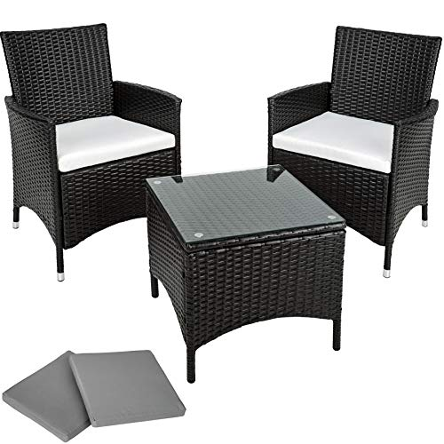 TecTake Aluminium Poly Rattan Gartenmöbel Gartengarnitur Gartenset Sitzgruppe schwarz mit Sitzkissen und 2 Bezüge, Edelstahlschrauben - Diverse Farben - (Schwarz | Nr. 401470)