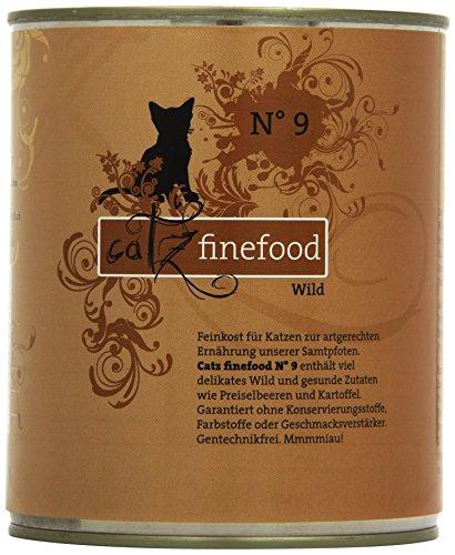 catz finefood N° 9 Wild Feinkost Katzenfutter nass, verfeinert mit Kartoffel & Preiselbeere, 6 x 800g Dosen