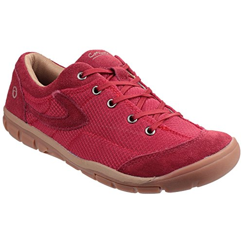 Cotswold Womens/Ladies Ardley Leather Lace Up Casual Sneakers Bordeaux