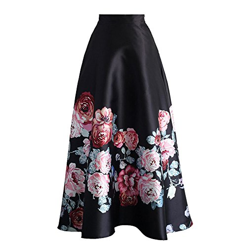 Uranus Damen Blume Drucken Farbblock Hohe Taille A-Linie Swing Maxi Rock Kleid Stil 3