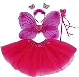 Fun Play Hot Pink Fee Kostüm - schmetterlingsfee Flügel, Tutu, Zauberstab und Stirnband Hot Pink Eingestellt